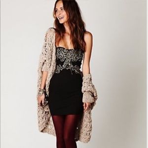 Free People Strapless Bodycon Beaded Dress Mini